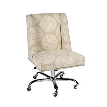 Medallion Patterned Upholstery Rolling Office Chair with Nailheads view 1