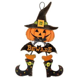 "30"" ""Beware"" Pumpkin Wood Wall Sign with Dangling Legs"