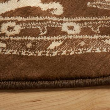 8' Brown Damask Round Area Rug view 2