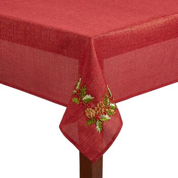 Red Lurex Metallic Embroidered Holly Tablecloth