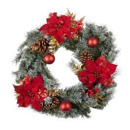 "24"" Red Poinsettia, Pinecones and Ornaments Artificial Wreath"