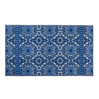 "27"" x 45"" Blue Medallion Print Accent Rug"
