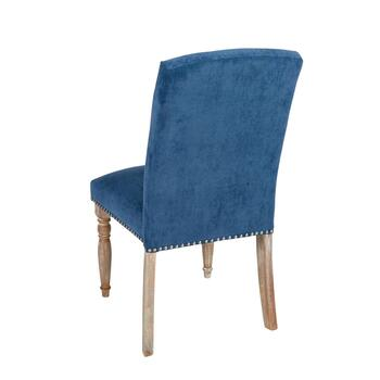 Spindle Leg Tufted Upholstery Parson's Chair with Nailheads view 2