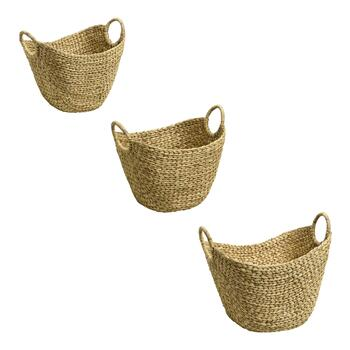Natural Water Hyacinth Catch-All Basket