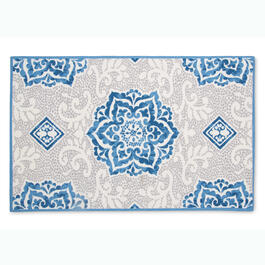 Waverly® Blue/Grey Medallion Indoor/Outdoor Rug view 1