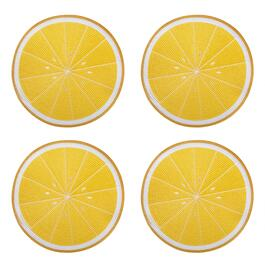 "14.5"" Lemon Round Ribbed Placemats, Set of 4"