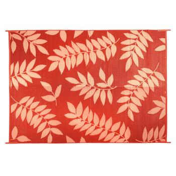 5'x7' Red Leaf Reversible All-Weather Patio Mat