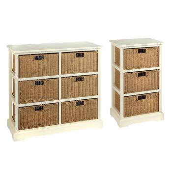 Aspen Cream Paper Woven Basket Cabinet Collection