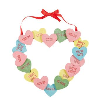 "12"" Glitter Candy Hearts Wreath"