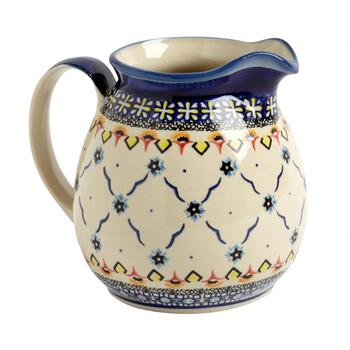 Polish Pottery Blue Linked Florals Ceramic Drink Pitcher