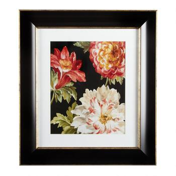 "12""x14"" Black/Pink Flowers Framed Wall Decor"