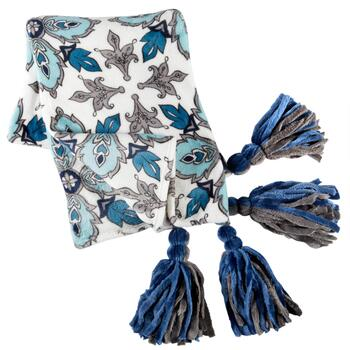 Evolution™ Blue/Gray Floral Tassel Throw Blanket
