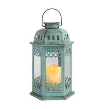 "11"" Rustic Hexagon LED Solar Candle Lantern"