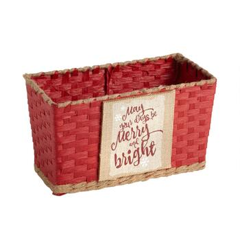 """Merry and Bright"" Papercord/Burlap Woven Storage Basket"