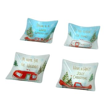 Holiday Campers and Trucks Glass Bowls, Set of 4