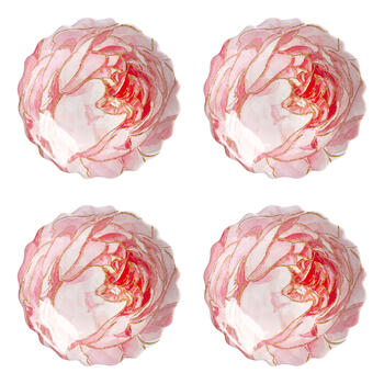 Pink Peony Shiny Shaped Melamine Salad Plates, Set of 4 view 1