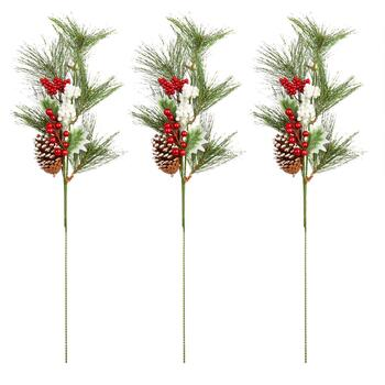 "15"" Pine Needle and Berry Stakes, Set of 3"