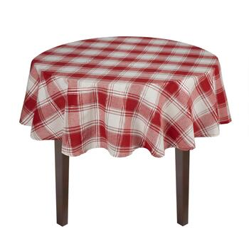 Red/White Plaid Jacquard Cotton Tablecloth view 2