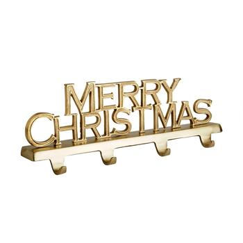 "4-Hook ""Merry Christmas"" Metal Stocking Holder"