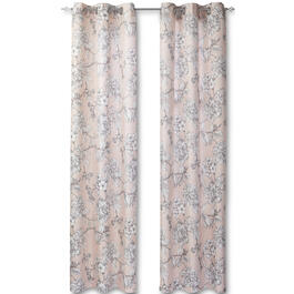 Pink Floral Putney Halton Grommet Window Panel Pair view 1