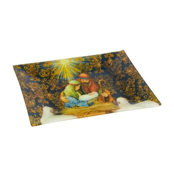 Nativity Scene Glass Serving Tray