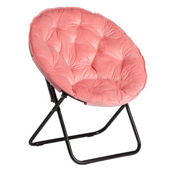Coral Oversized Plush Saucer Chair