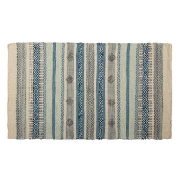 "27""x45"" Gray/Blue Diamond Stripes Handwoven Dhurrie Accent Rug view 1"