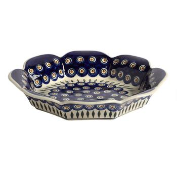 Polish Pottery Peacock Feathers Fluted Fruit Bowl