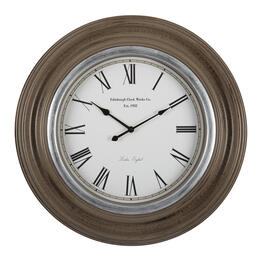 "26"" Brown/Silver Round Roman Numeral Wall Clock view 1"