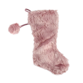 Pink Faux Fur Stocking with Pom-Pom view 1