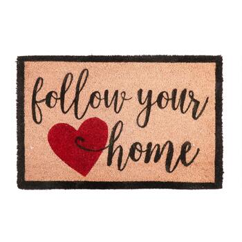 """Follow Your (Heart) Home"" Coir Door Mat"