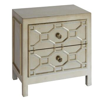 Geometric 2-Drawer Wood Chest