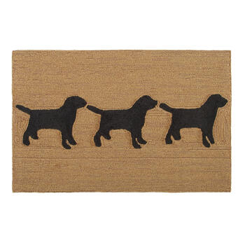 "24""x36"" 3-Dog Hand-Hooked Accent Rug view 1"