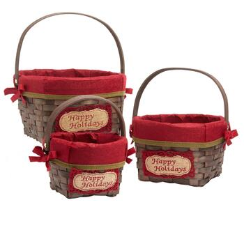"""Happy Holidays"" Red Woven Gift Baskets, Set of 3"