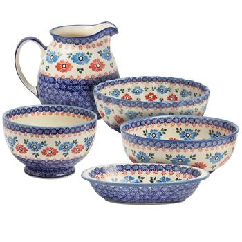 Polish Pottery Blue/Red Floral Serveware Collection