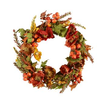 "The Grainhouse™ 23"" Poppies and Tomatoes Artificial Twig Wreath"