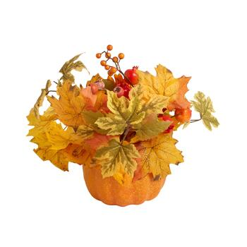 "13"" Yellow Pumpkin Pot with Berries and Leaves"