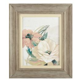 "19""x22"" Two Flowers Matted Linen Fillet Framed Wall Art"