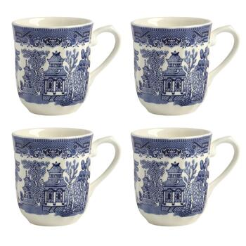 Blue Willow Imperial Decorative Coffee Mugs, Set of 4