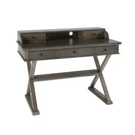 Gray X-Side Desk with Hutch