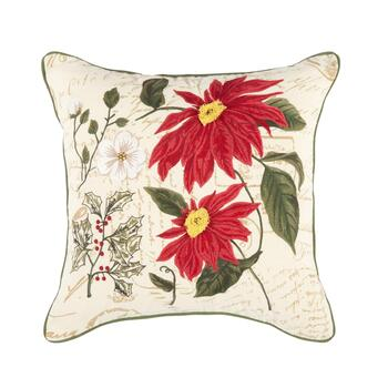 Red Poinsettia Flowers Feather-Fill Throw Pillow