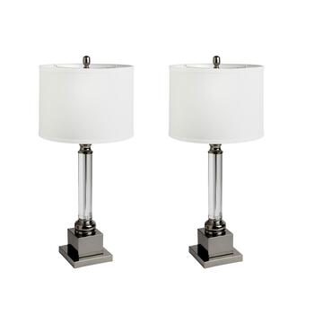 "22.5"" Crystal Column Square Base Table Lamps, Set of 2"