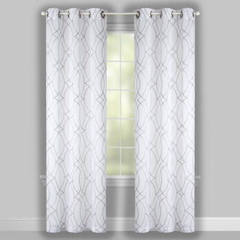 "84"" Spiral Links Embroidered Window Curtains, Set of 2 view 2"
