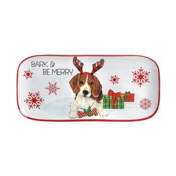 """Bark & Be Merry"" Christmas Dog Melamine Trays, Set of 2 view 2"