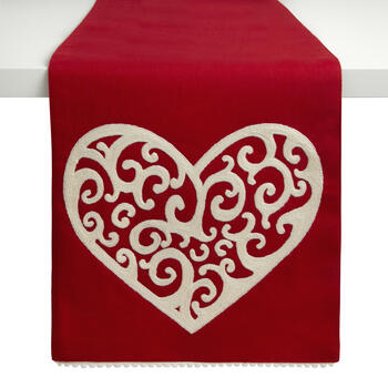 Scroll Heart Red Embellished Runner view 1