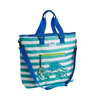 "20.5"" Sea Turtles Green Stripe Deluxe Insulated Cooler Tote"