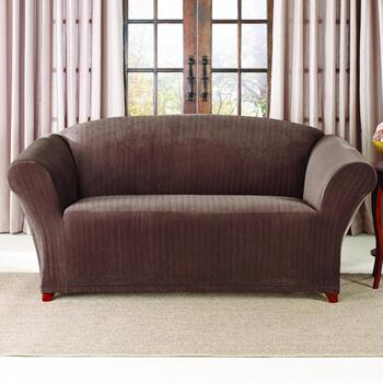 Awesome Surfit Chocolate Stretch Pinstripe Loveseat Slipcover Theyellowbook Wood Chair Design Ideas Theyellowbookinfo