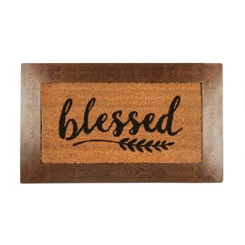 "The Grainhouse™ 18""x30"" ""Blessed"" Border Coir Door Mat"