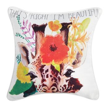 """That's Right, I'm Beautiful"" Giraffe Square Throw Pillow"