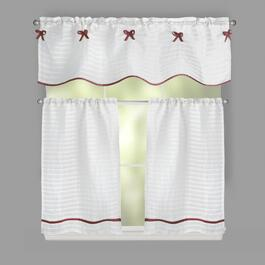 "24"" Bows and Stripes Window Tier & Valance Set"